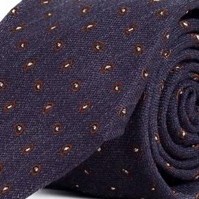 Blue & Brown Paisley Wool & Silk Tie - thumbnail image 1