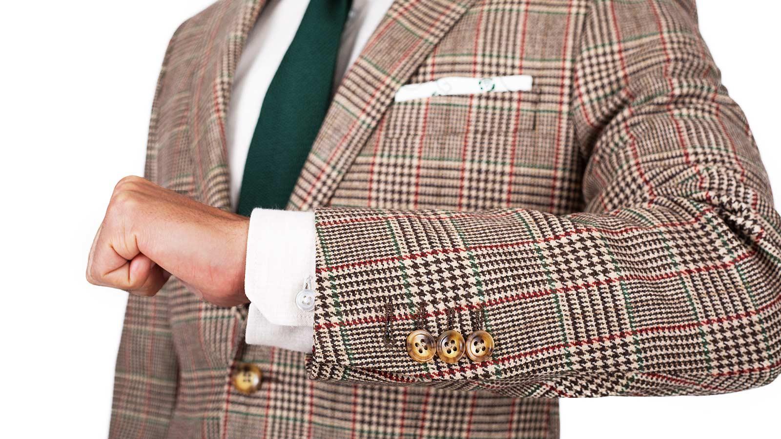 Light Brown Plaid Wool & Cashmere Suit - slider image 1