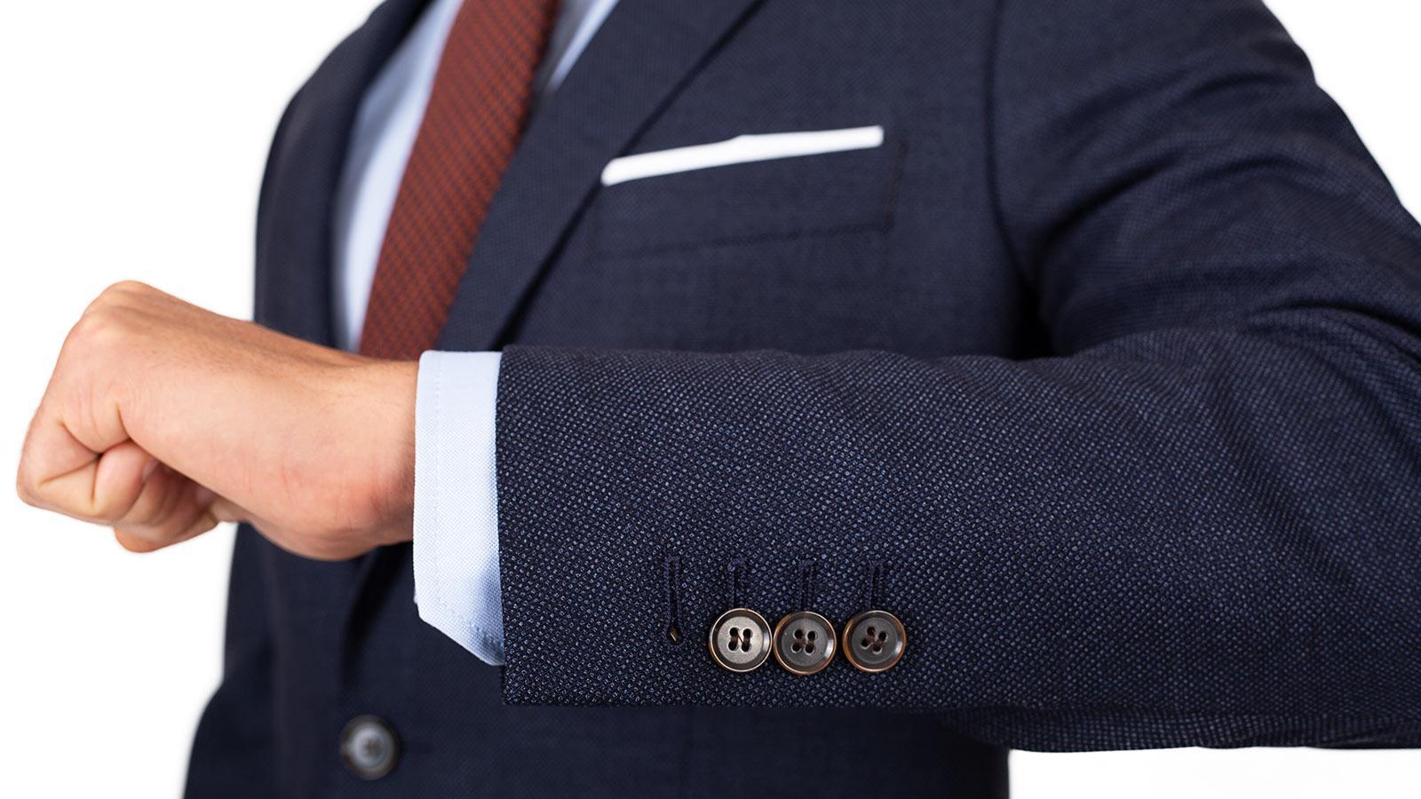 Denim Blue Birdseye Natural Stretch Suit - slider image 1