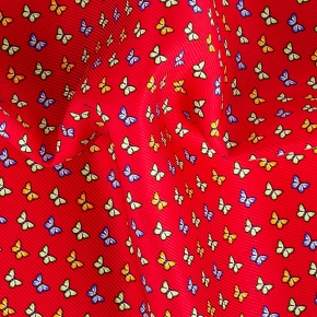 Red & Blue Butterflies Print Pocket Square - thumbnail image 1