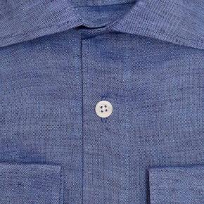 Denim Blue Linen Shirt - thumbnail image 1
