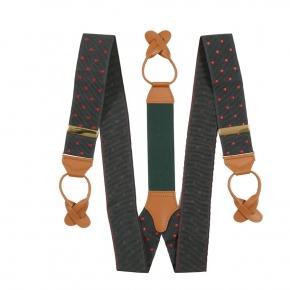 Olive Green & Red Polka Dot Suspenders - thumbnail image 1
