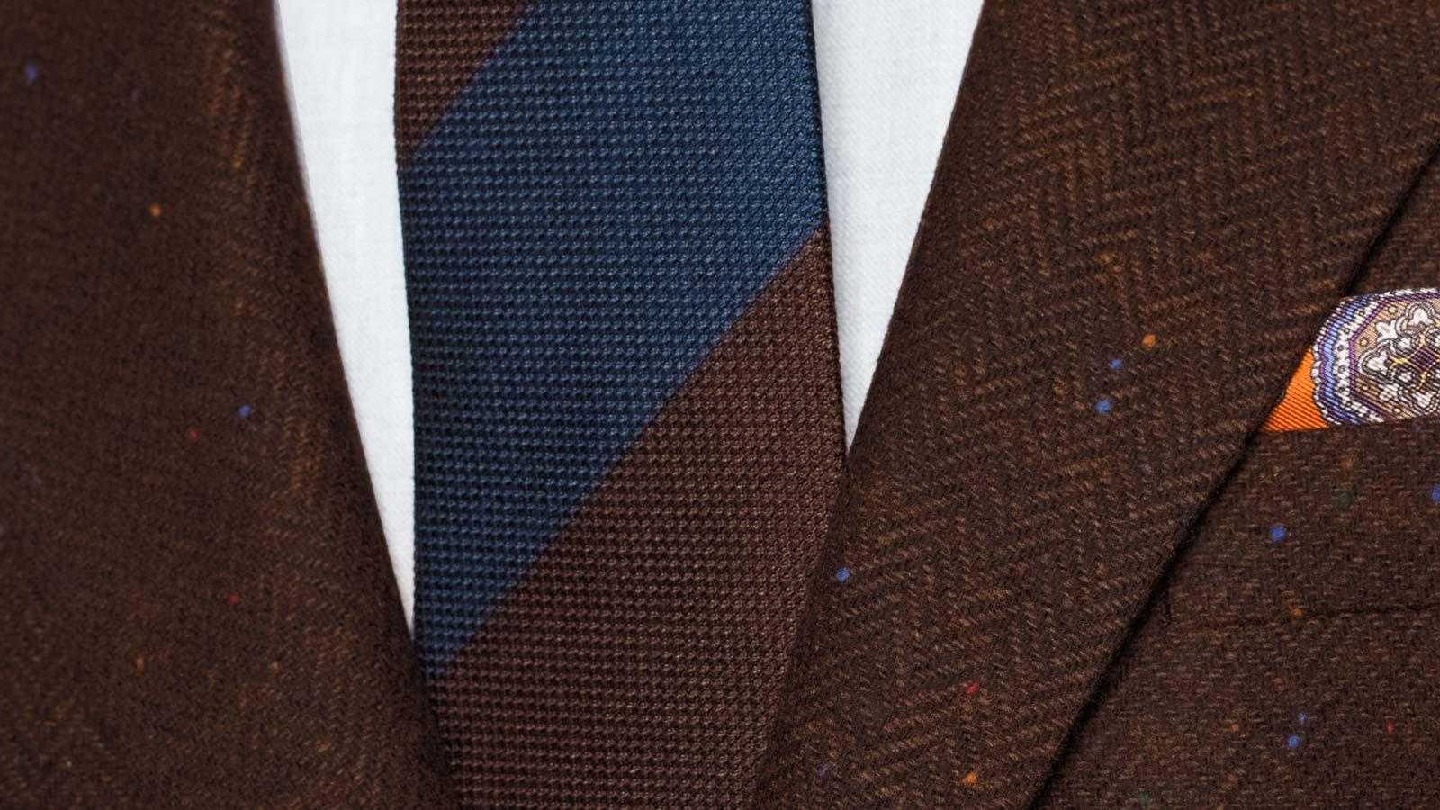 Rich Tobacco Donegal Herringbone Tweed Blazer - slider image 1