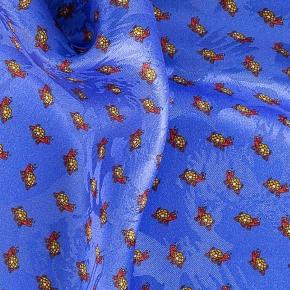 Indigo, Brick Red & Yellow Turtle Print Pocket Square - thumbnail image 1