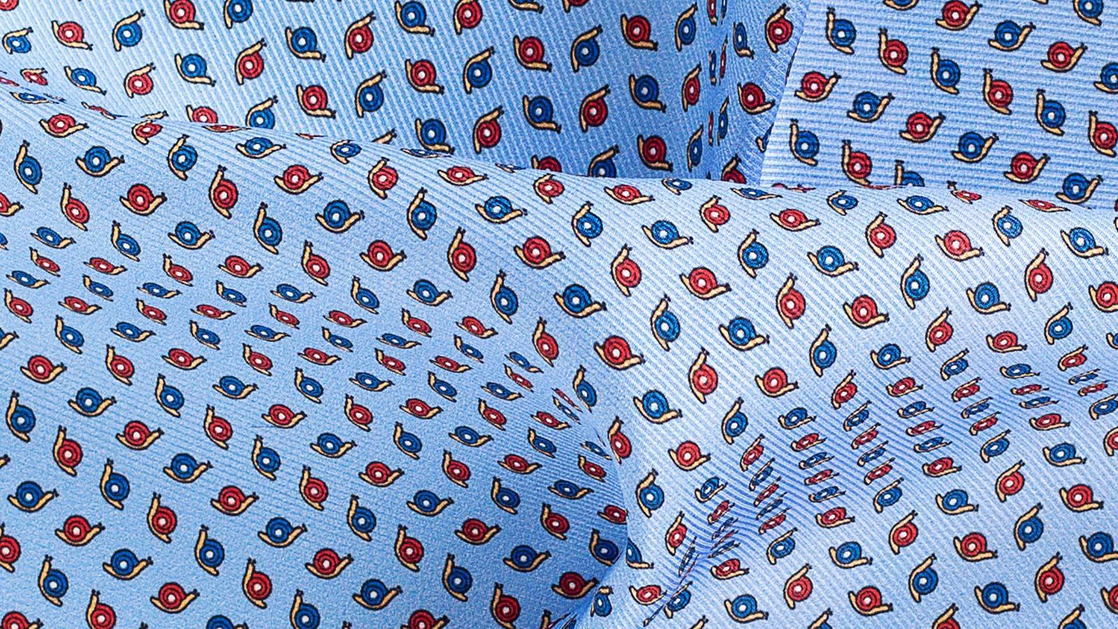 Blue & Sky Blue Snail Print Pocket Square - slider image