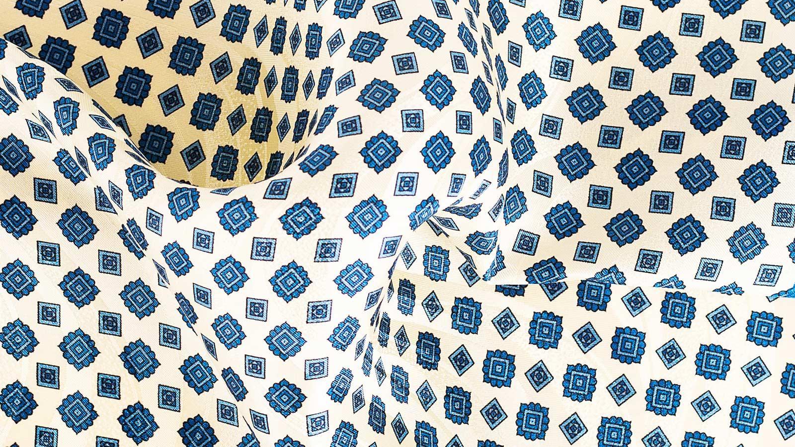 Ivory & Denim Blue Pocket Square - slider image