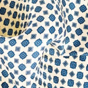 Ivory & Denim Blue Pocket Square - thumbnail image 1