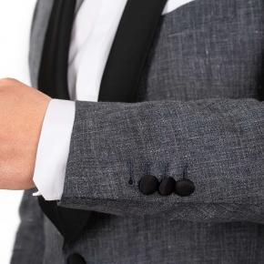 Dark Grey Linen Tuxedo - thumbnail image 2