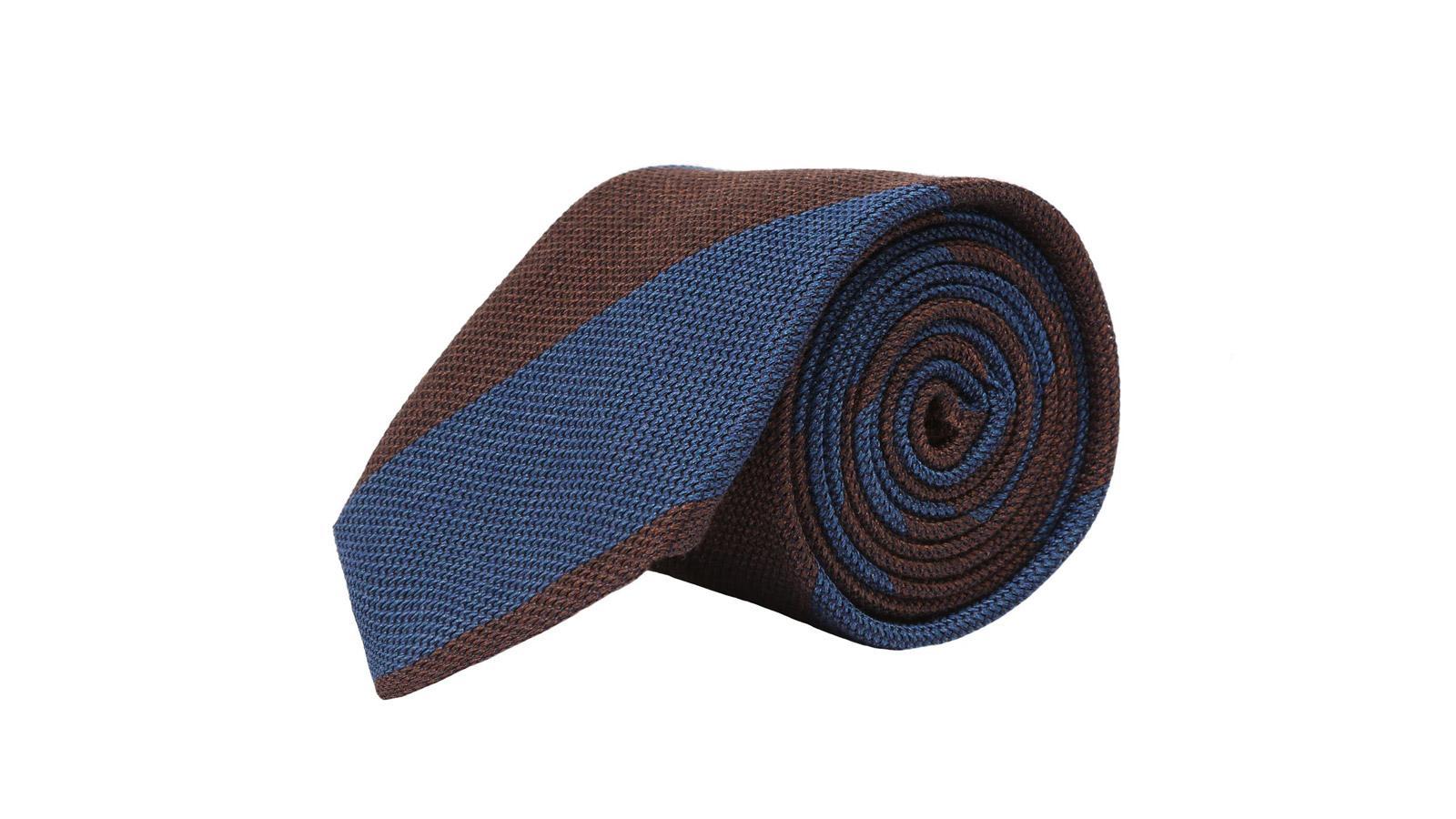 Blue & Brown Grenadine Silk Tie - slider image