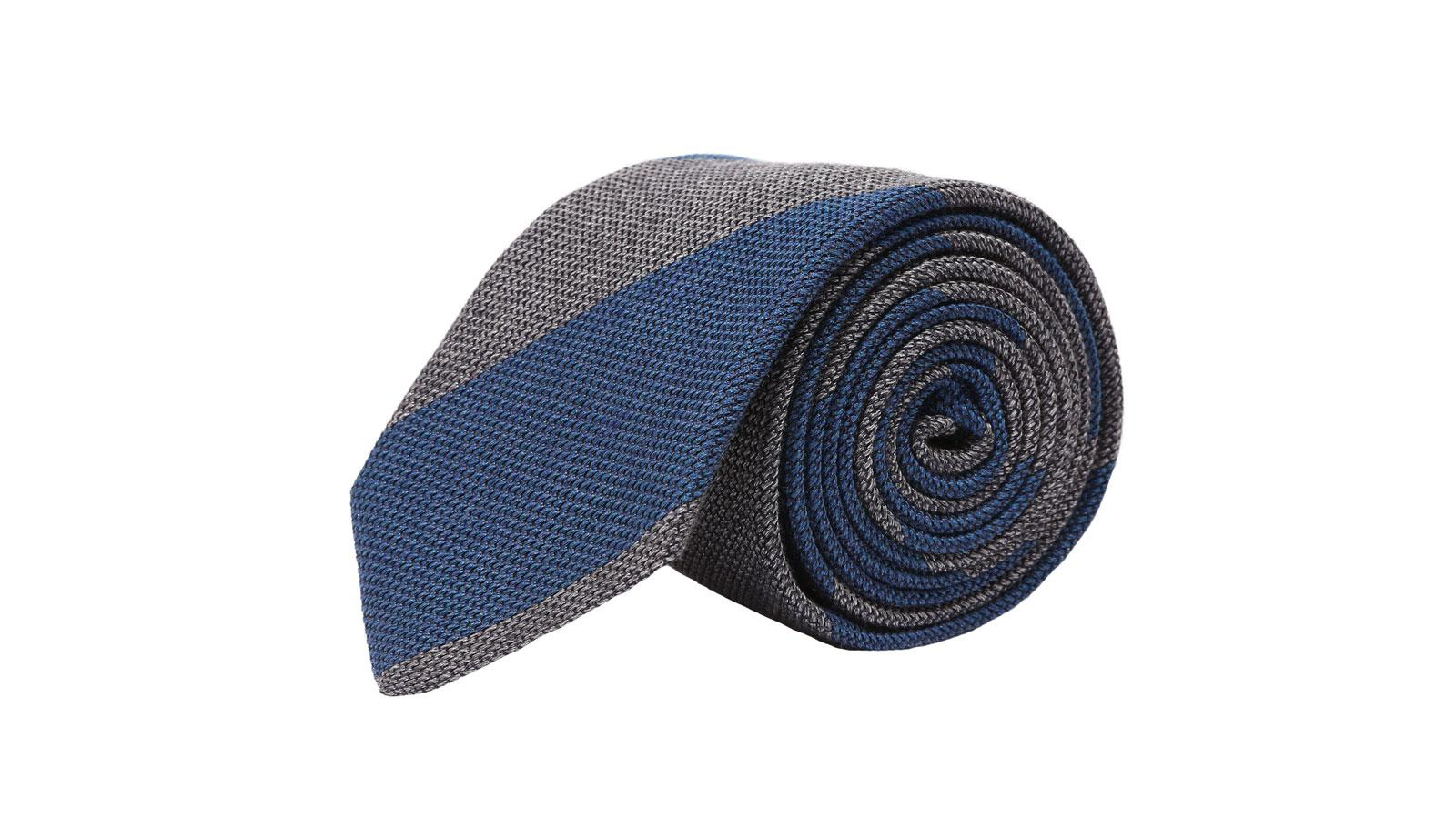 Blue & Grey Grenadine Silk Tie - slider image