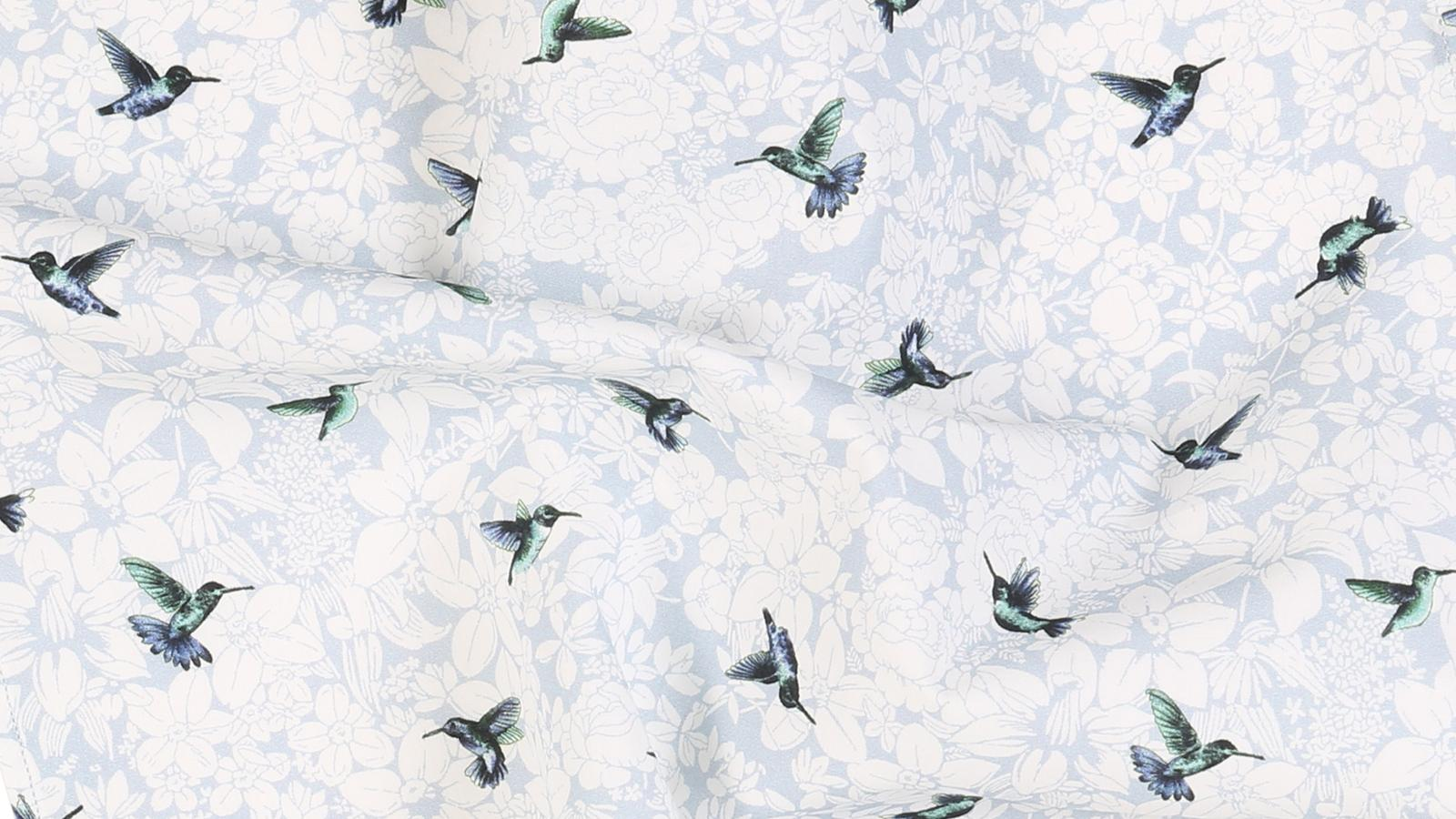 Birds Pattern Sky Blue Cotton Pocket Square - slider image