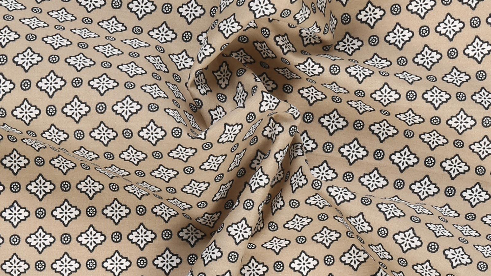 Taupe Patterned Cotton Pocket Square - slider image