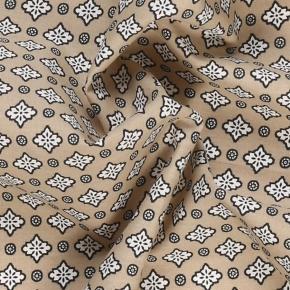 Taupe Patterned Cotton Pocket Square - thumbnail image 1