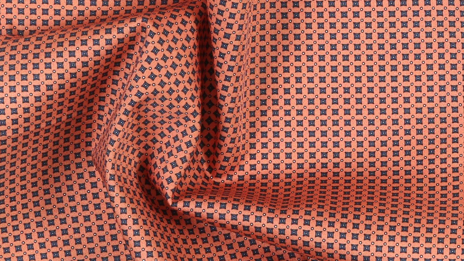 Orange Patterned Cotton Pocket Square - slider image