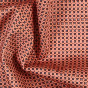 Orange Patterned Cotton Pocket Square - thumbnail image 1