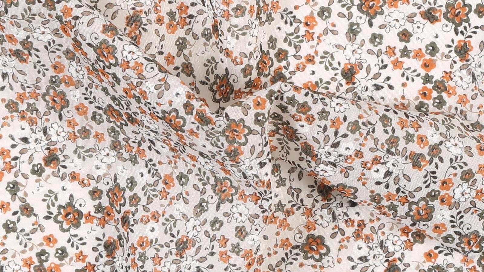 White, Green and Orange Floral Cotton Pocket Square - slider image