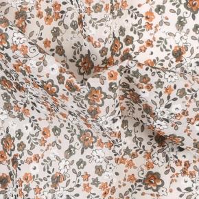 White, Green and Orange Floral Cotton Pocket Square - thumbnail image 1