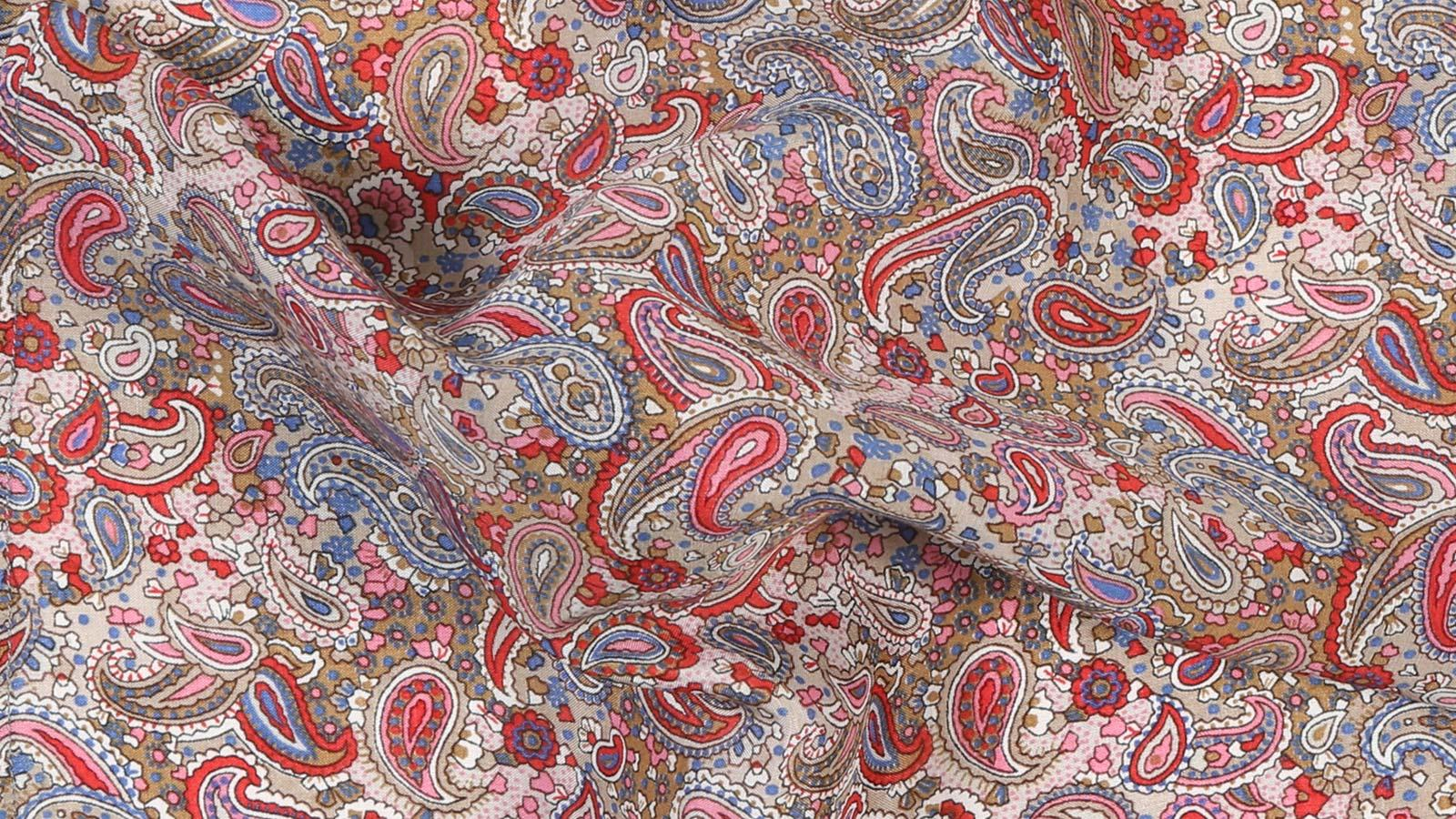 Red Paisley Patterned Cotton & Rayon Pocket Square - slider image