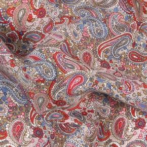 Red Paisley Patterned Cotton & Rayon Pocket Square - thumbnail image 1