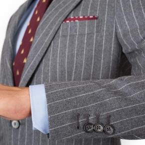 Grey Chalkstripe Wool Flannel Suit - thumbnail image 1