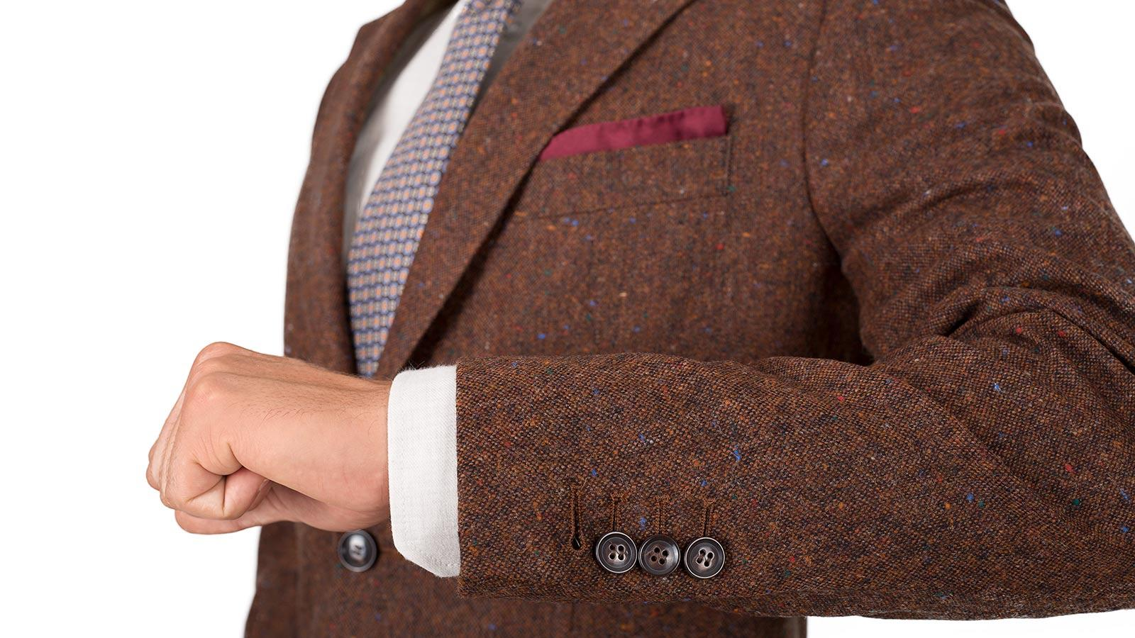 Copper Brown Donegal Tweed Blazer - slider image 1
