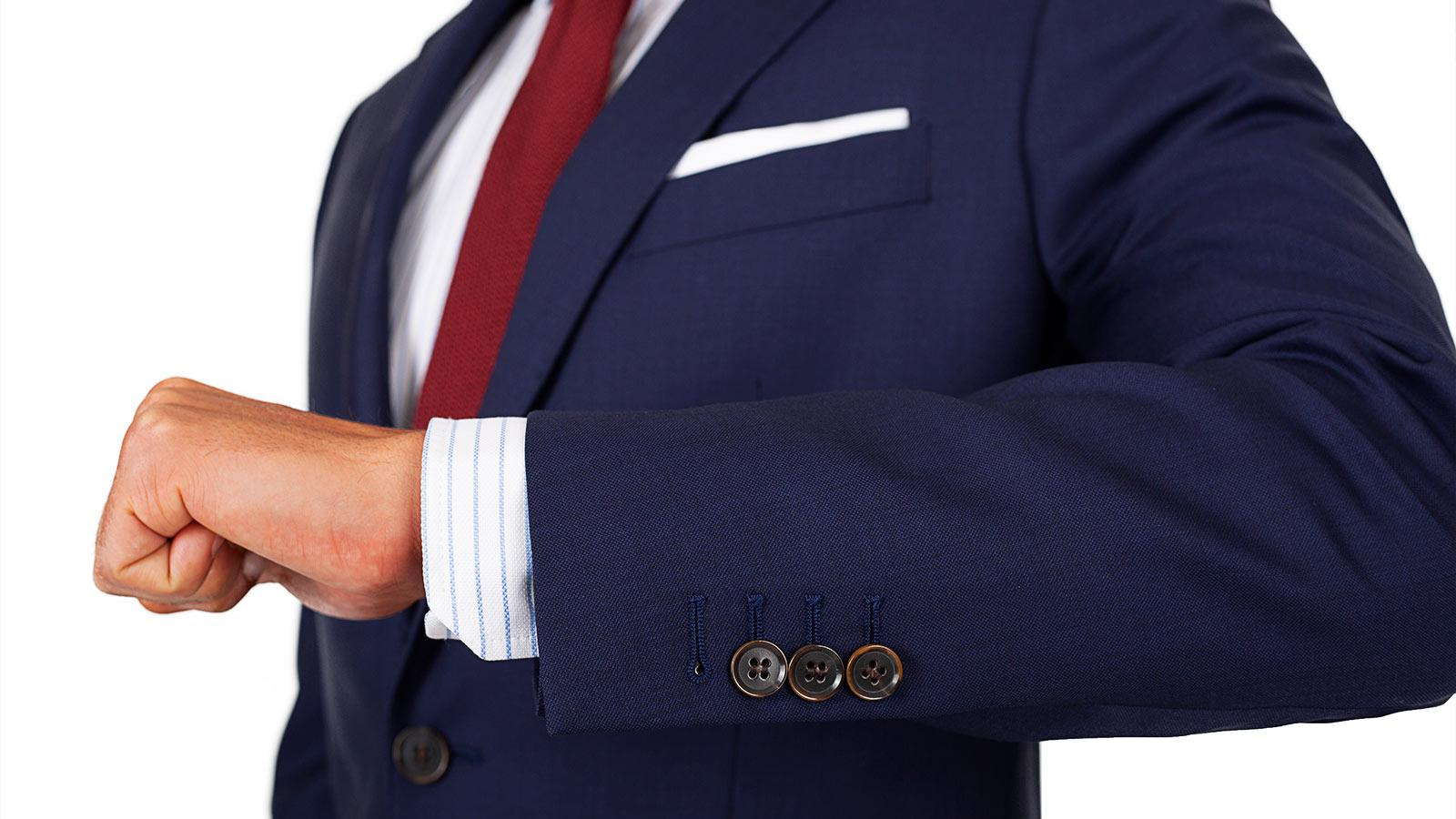Suit in Deep Blue Pick & Pick Wool - slider image 1