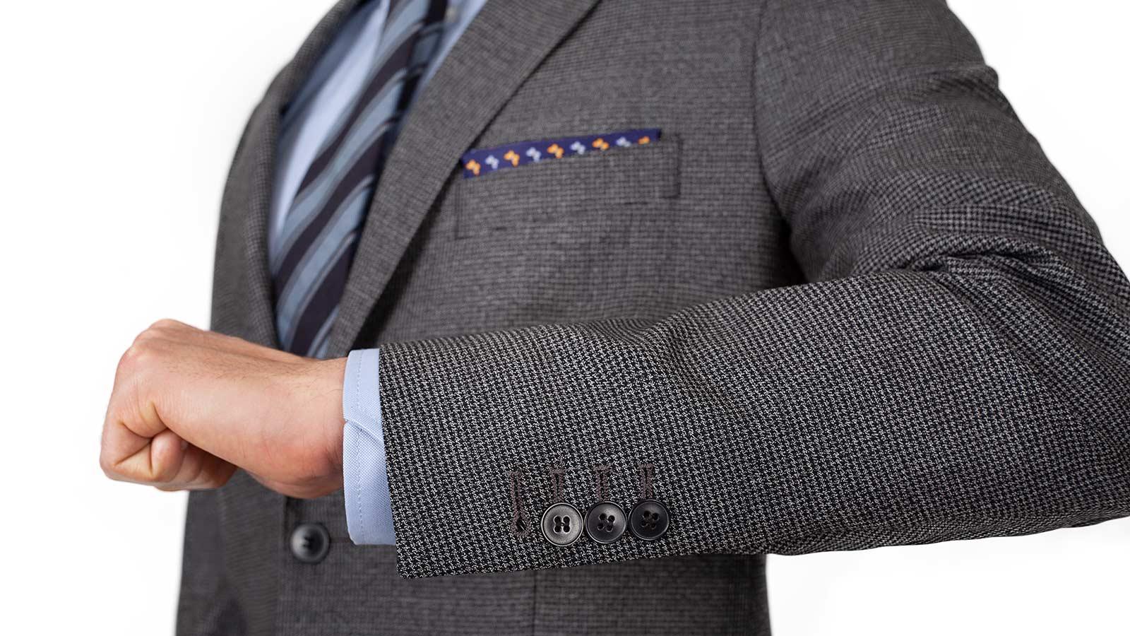 Grey Houndstooth Natural Stretch Suit - slider image 1