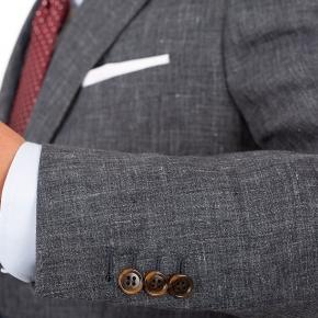Dark Grey Melange Linen Suit - thumbnail image 1