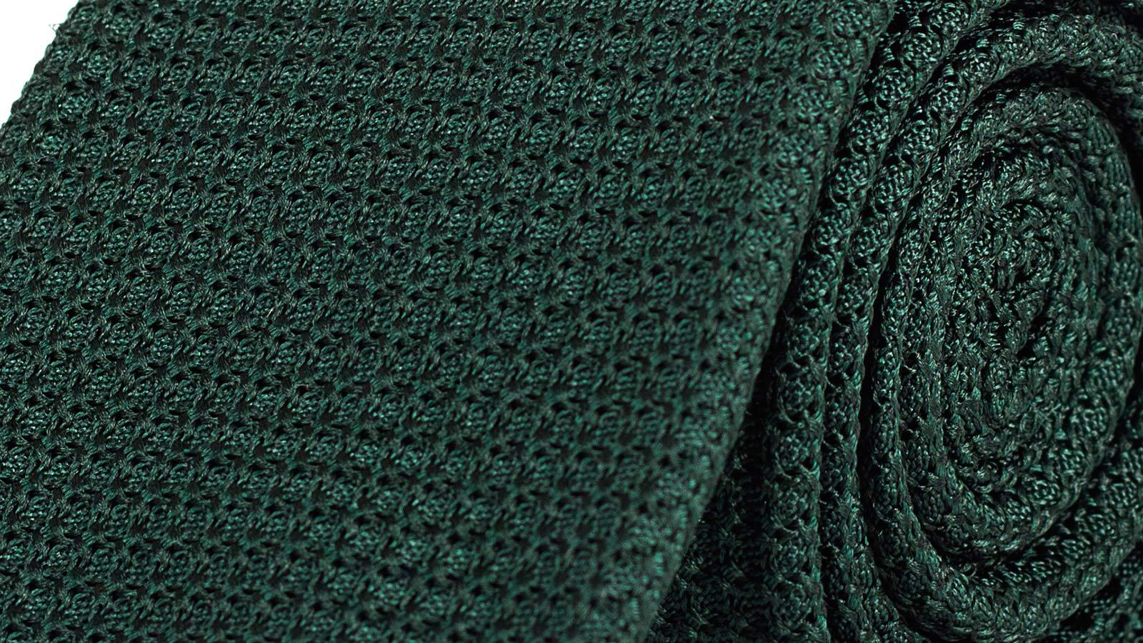 Dark Green 100% Grenadine Silk Tie - slider image