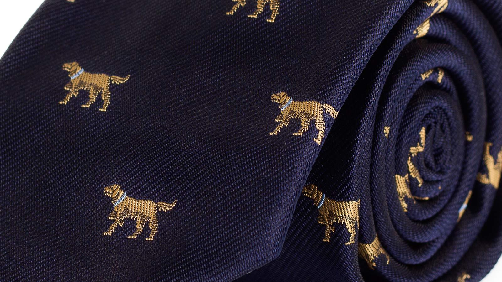 Dog Pattern Navy 100% Silk Tie - slider image
