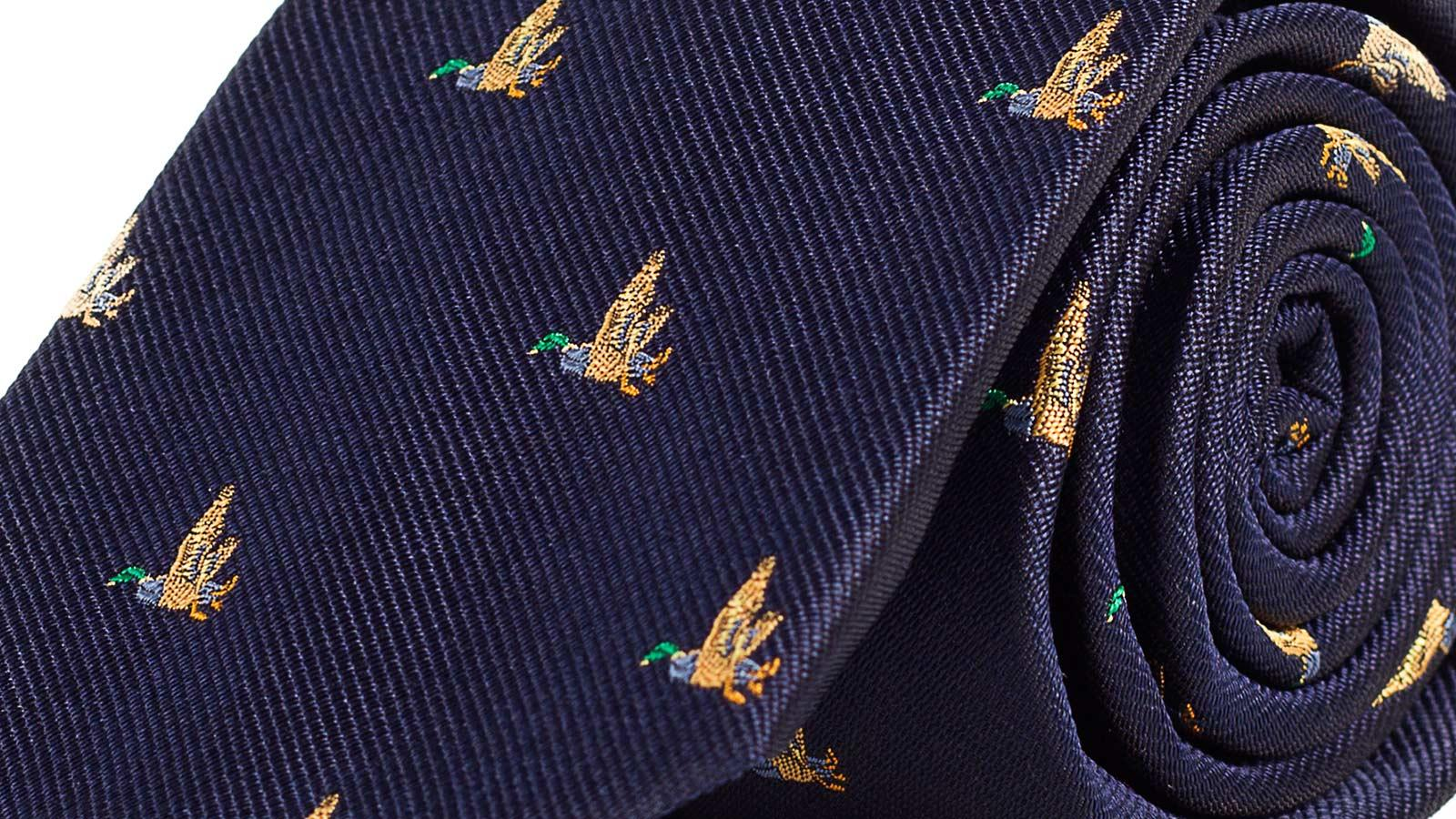 Duck Pattern Navy 100% Silk Tie - slider image