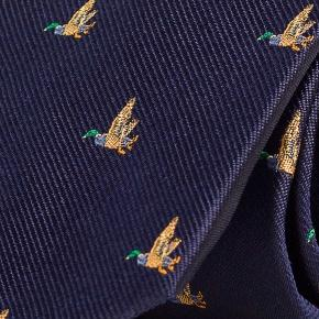 Duck Pattern Navy 100% Silk Tie - thumbnail image 1