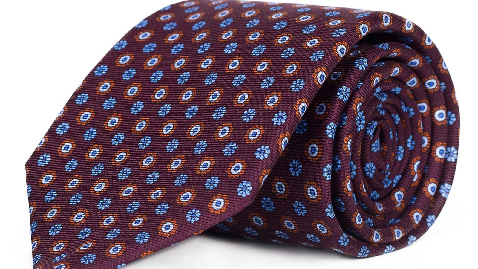 Burgundy Floral 28 Momme Silk Tie - slider image