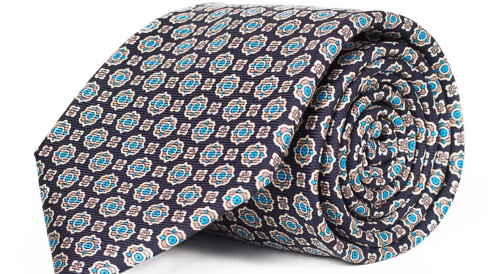 Navy & Blue 28 Momme Silk Tie - slider image