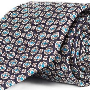 Navy & Blue 28 Momme Silk Tie - thumbnail image 1
