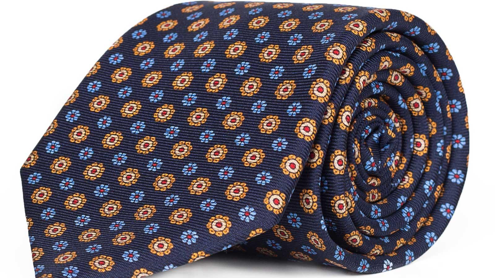 Blue & Gold Floral 28 Momme Silk Tie - slider image