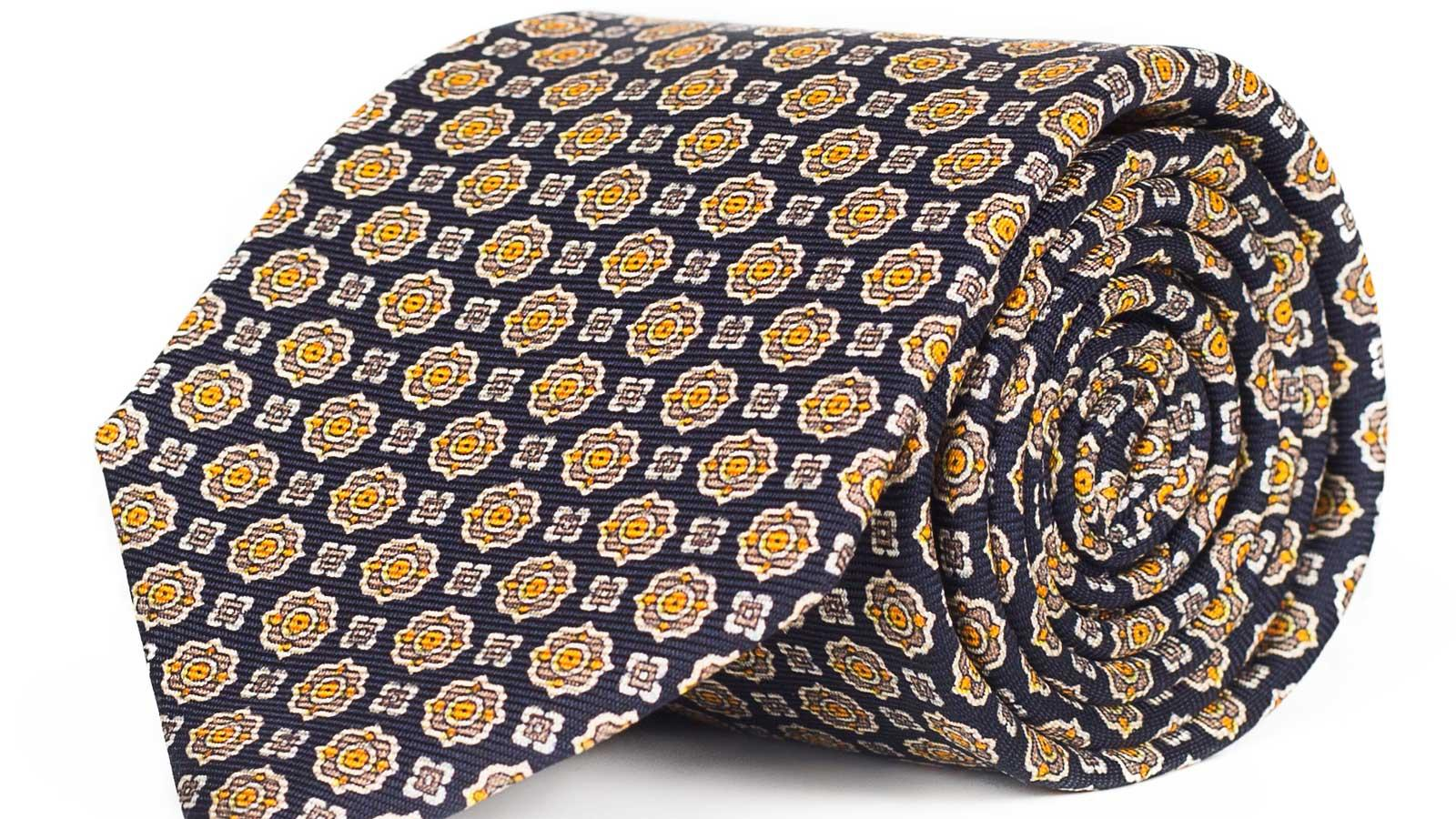 Navy & Bronze 28 Momme Silk Tie - slider image