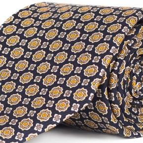 Navy & Bronze 28 Momme Silk Tie - thumbnail image 1