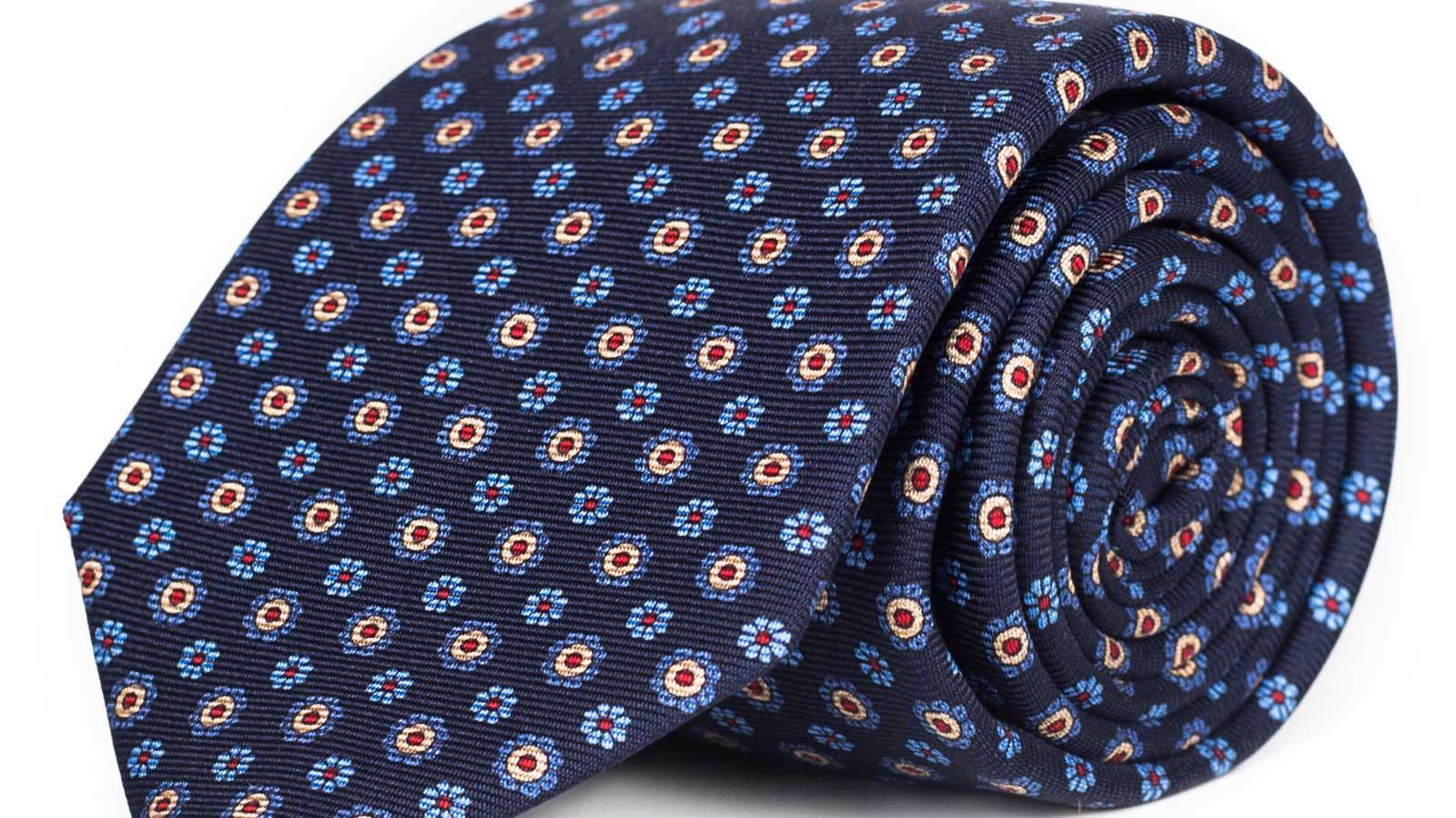 Blue & Blue Floral 28 Momme Silk Tie  - slider image
