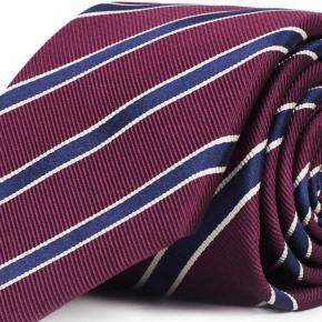 Blue Striped Burgundy Mogador Silk Tie - thumbnail image 1