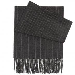 Dark Grey Striped Wool scarf - thumbnail image 1