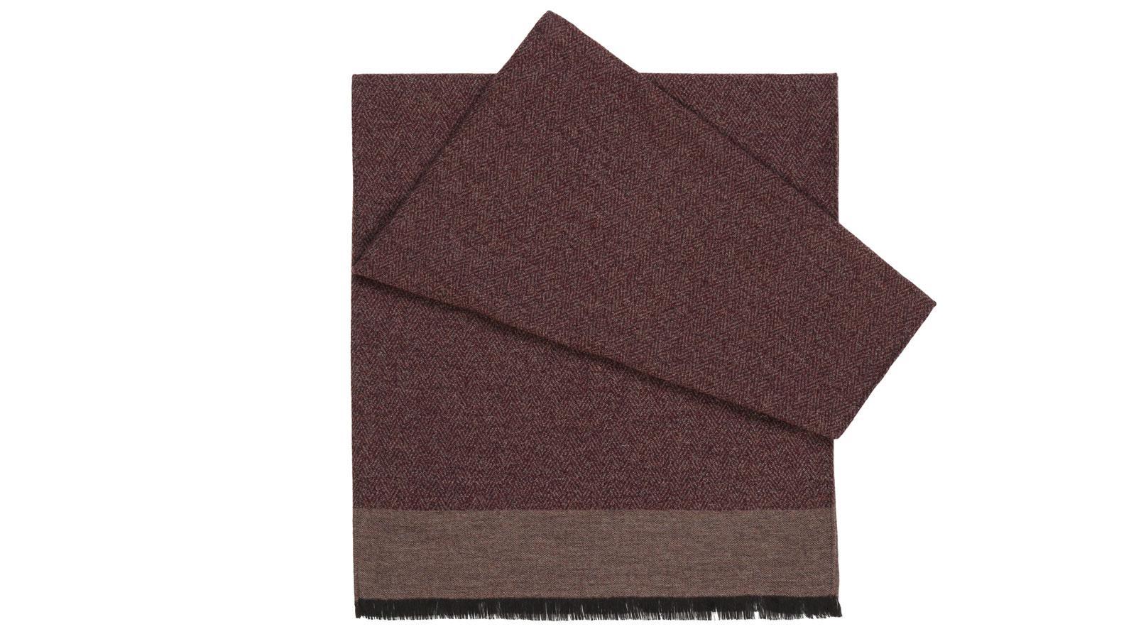 Maroon Melange Wool & Silk Scarf - slider image