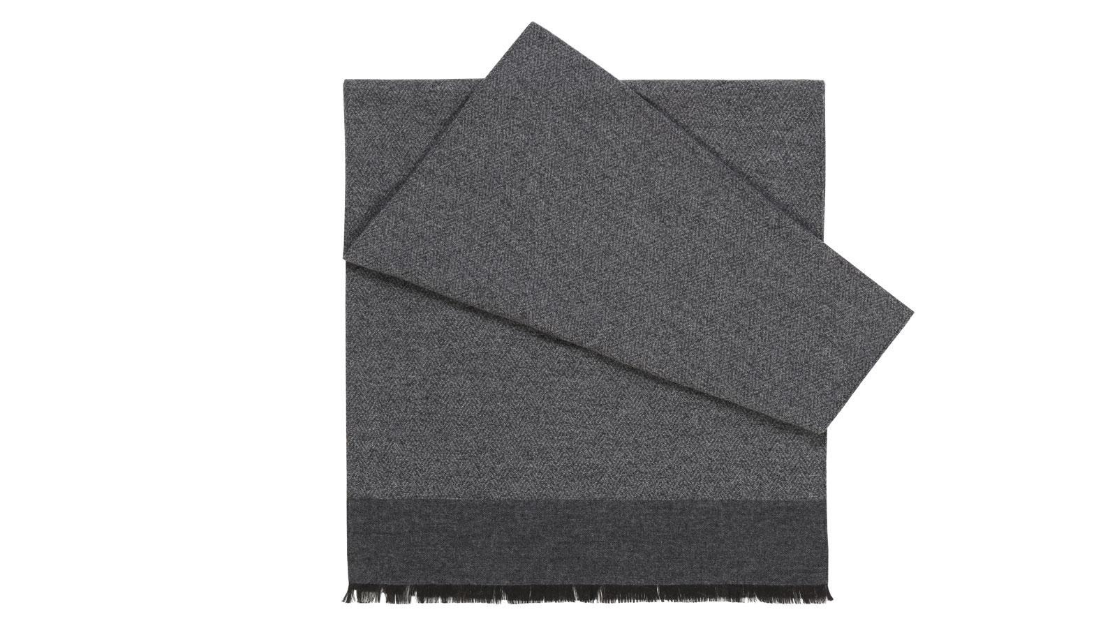 Grey Melange Wool & Silk Scarf - slider image