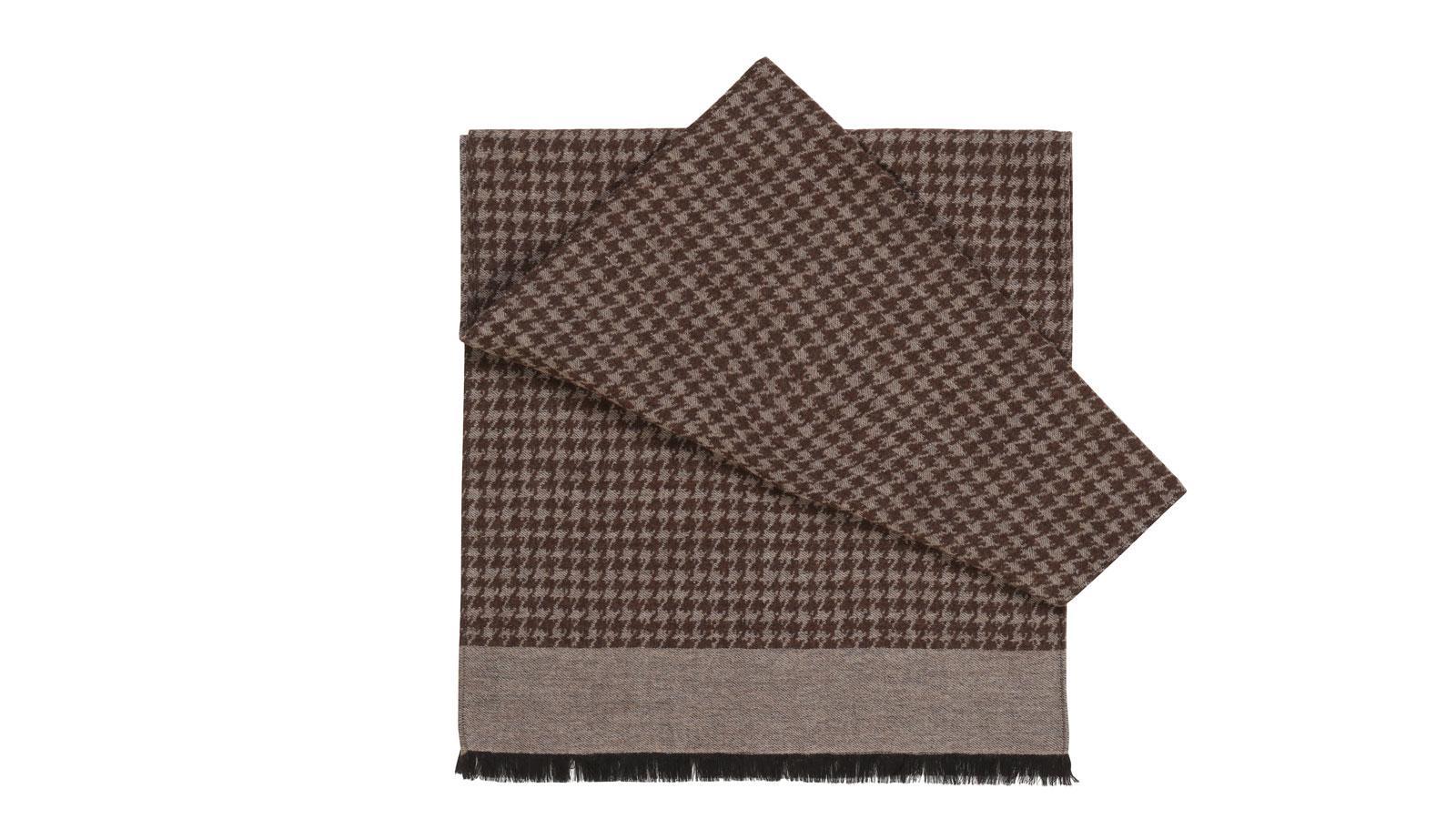Beige Houndstooth Wool & Silk Scarf  - slider image
