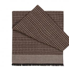 Beige Houndstooth Wool & Silk Scarf  - thumbnail image 1