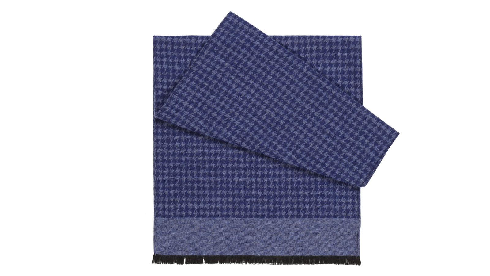 Blue Houndstooth Wool & Silk Scarf - slider image