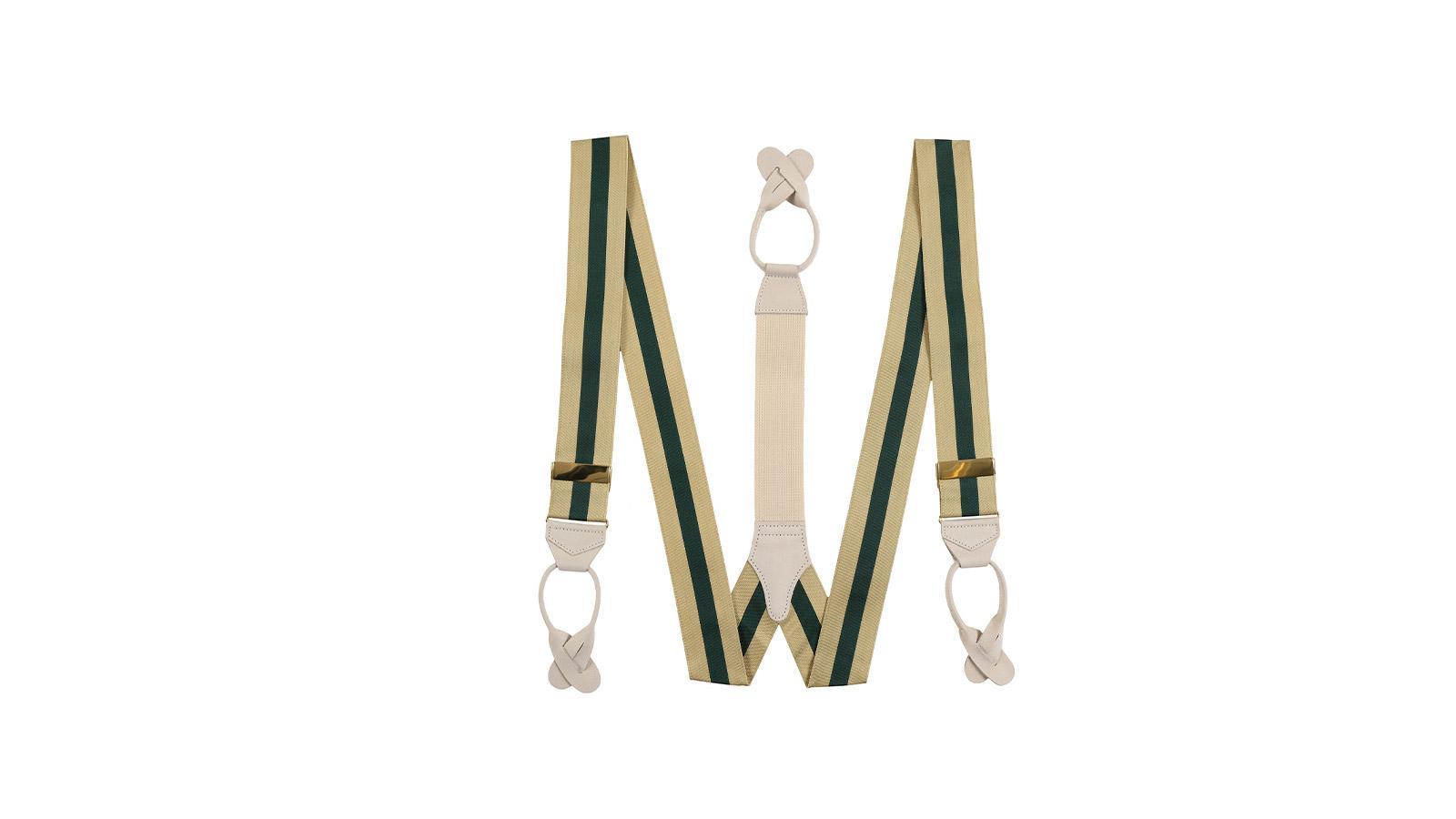 Beige & Green Striped Suspenders - slider image
