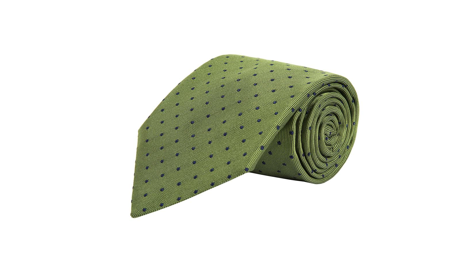Green Dotted Silk Tie - slider image