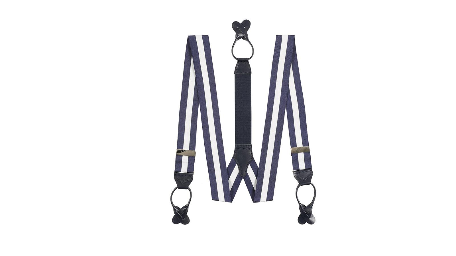 Navy & White Striped Suspenders - slider image