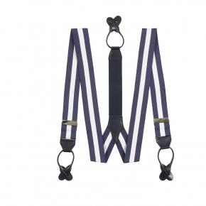Navy & White Striped Suspenders - thumbnail image 1